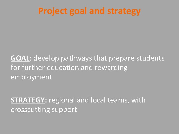 Project goal and strategy GOAL: develop pathways that prepare students for further education and