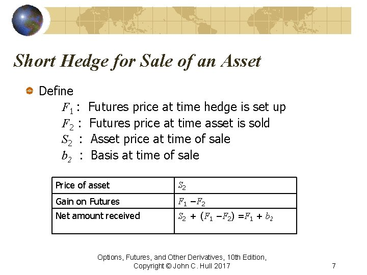Short Hedge for Sale of an Asset Define F 1 : F 2 :