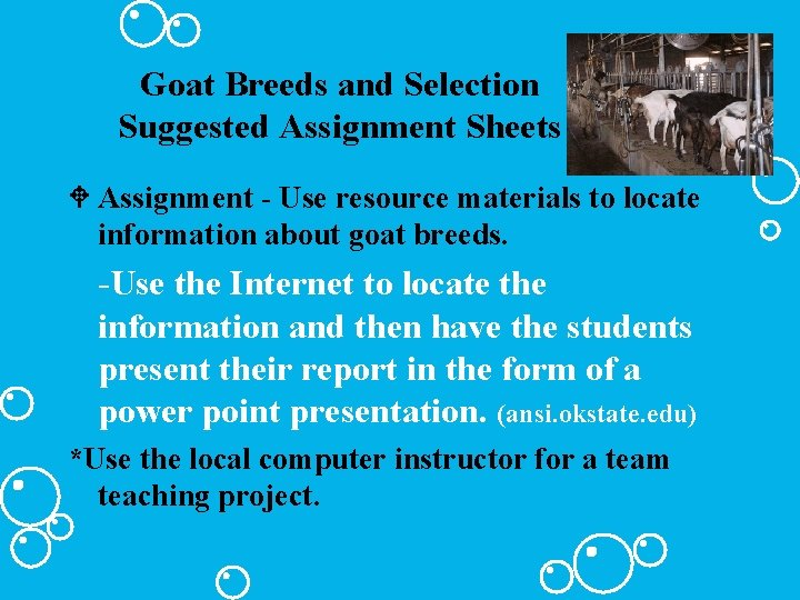 Goat Breeds and Selection Suggested Assignment Sheets W Assignment - Use resource materials to
