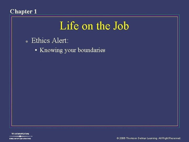 Chapter 1 Life on the Job l Ethics Alert: • Knowing your boundaries ©