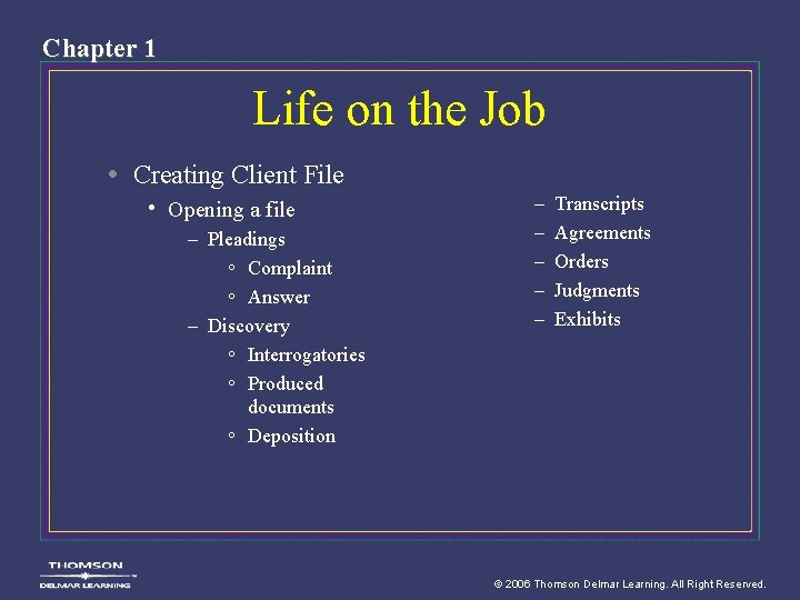 Chapter 1 Life on the Job • Creating Client File • Opening a file
