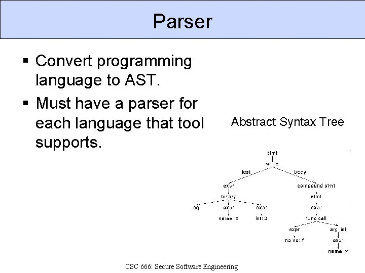 Parser § Convert programming language to AST. § Must have a parser for each