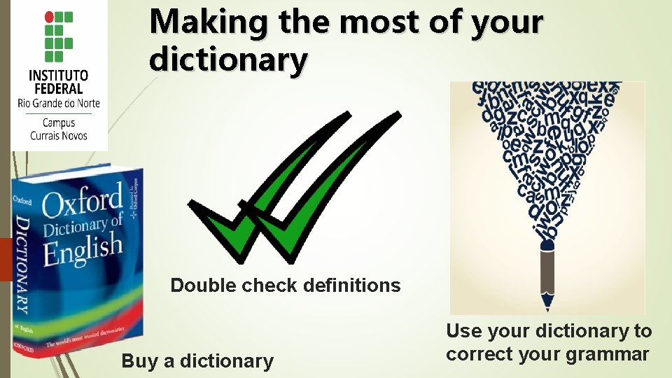 Making the most of your dictionary Double check definitions Buy a dictionary Use your