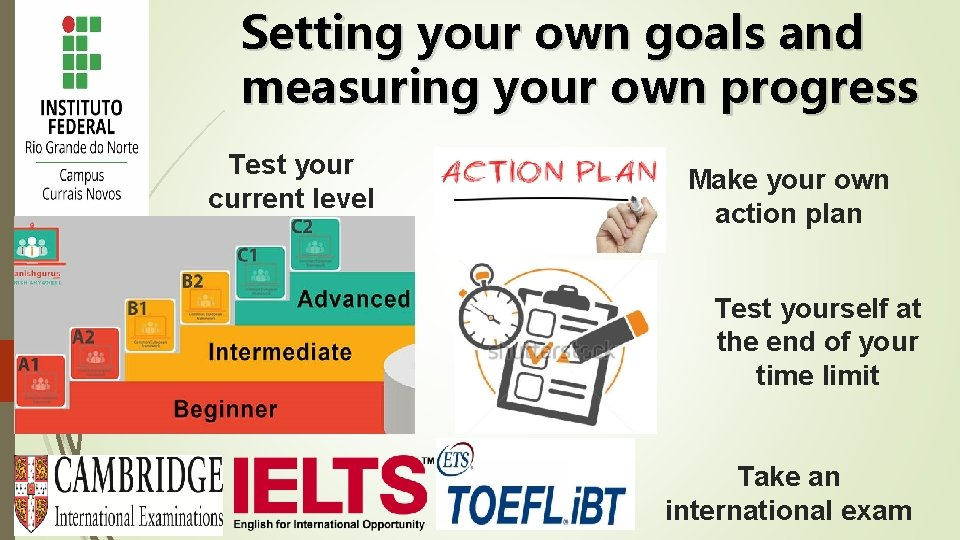 Setting your own goals and measuring your own progress Test your current level Make