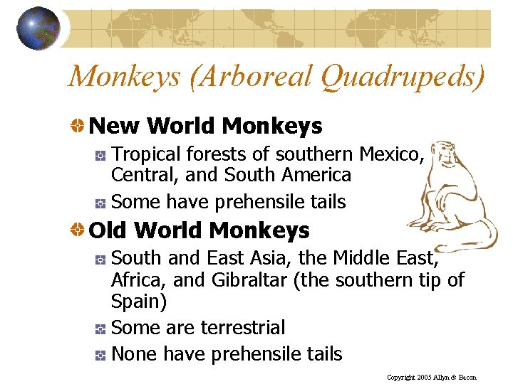 Monkeys (Arboreal Quadrupeds) New World Monkeys Tropical forests of southern Mexico, Central, and South