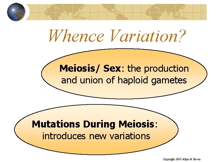 Whence Variation? Meiosis/ Sex: the production and union of haploid gametes Mutations During Meiosis: