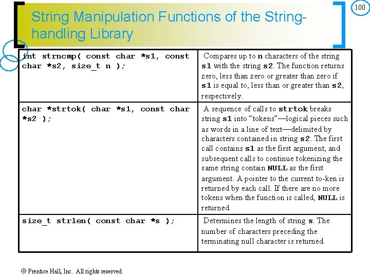 String Manipulation Functions of the Stringhandling Library int strncmp( const char *s 1, const