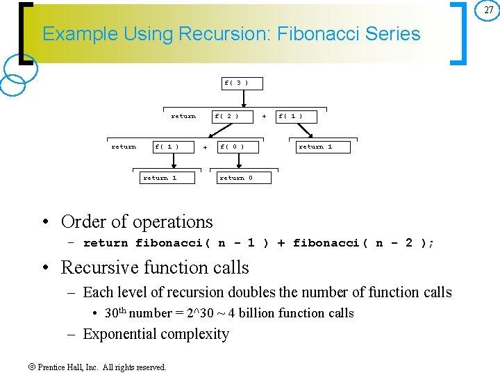 27 Example Using Recursion: Fibonacci Series f( 3 ) return f( 1 ) f(