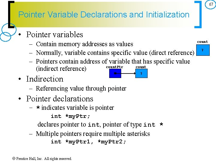 67 Pointer Variable Declarations and Initialization • Pointer variables – Contain memory addresses as