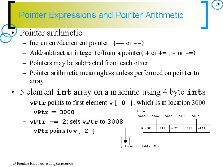 79 Pointer Expressions and Pointer Arithmetic • Pointer arithmetic – – Increment/decrement pointer (++