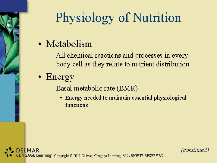 Physiology of Nutrition • Metabolism – All chemical reactions and processes in every body