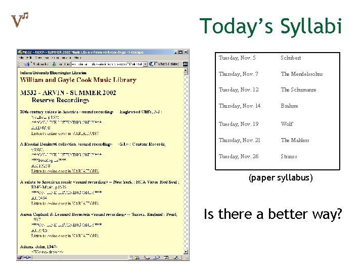 Today's Syllabi Tuesday, Nov. 5 Thursday, Nov. 7 Tuesday, Nov. 12 Thursday, Nov. 14