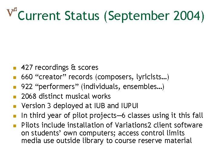 """Current Status (September 2004) n n n n 427 recordings & scores 660 """"creator"""""""