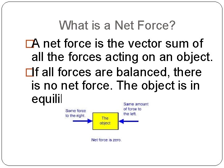 What is a Net Force? �A net force is the vector sum of all