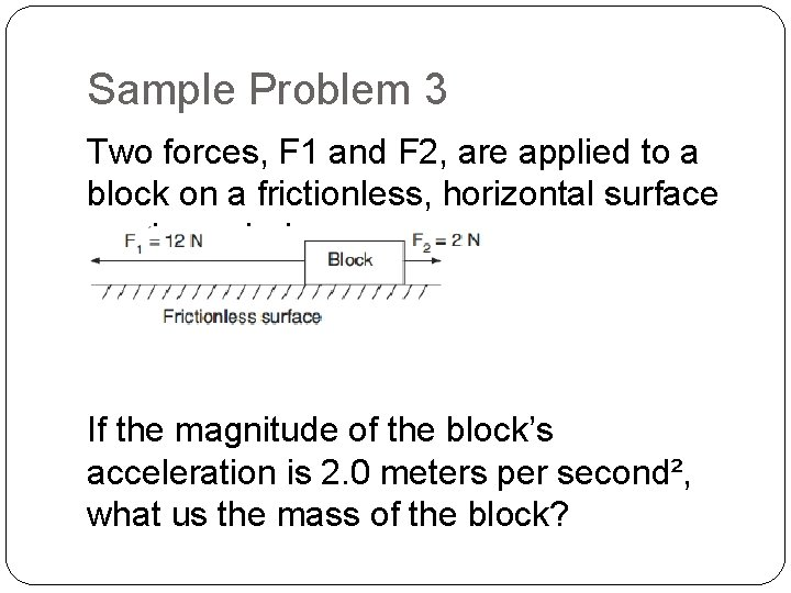 Sample Problem 3 Two forces, F 1 and F 2, are applied to a