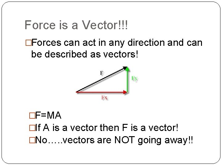 Force is a Vector!!! �Forces can act in any direction and can be described