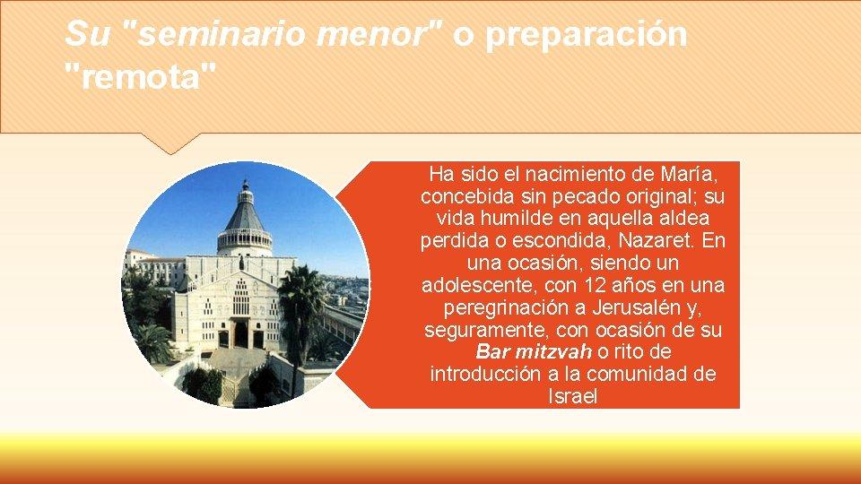 """Su """"seminario menor"""" o preparación """"remota"""" Ha sido el nacimiento de María, concebida sin"""