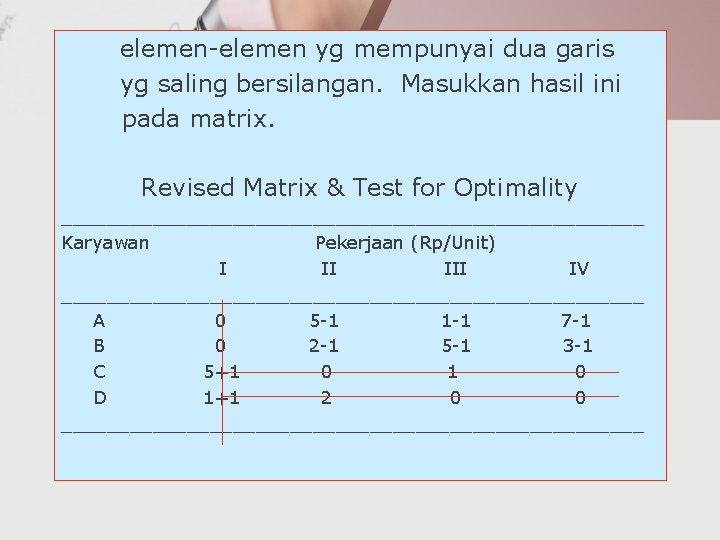 elemen-elemen yg mempunyai dua garis yg saling bersilangan. Masukkan hasil ini pada matrix. Revised