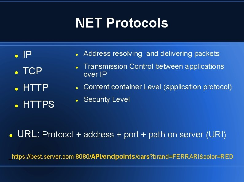 NET Protocols IP TCP HTTPS Address resolving and delivering packets Transmission Control between applications