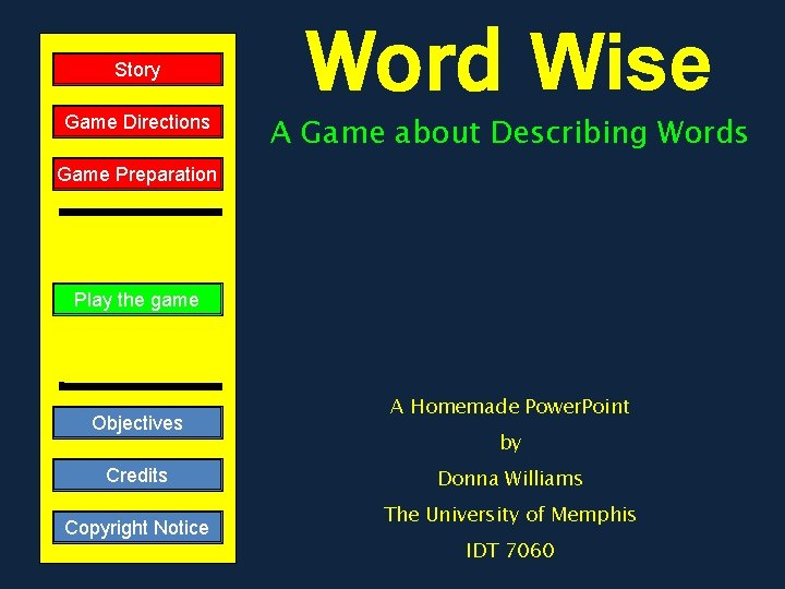 Story Game Directions Word Wise A Game about Describing Words Game Preparation Play the