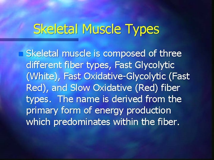 Skeletal Muscle Types n Skeletal muscle is composed of three different fiber types, Fast