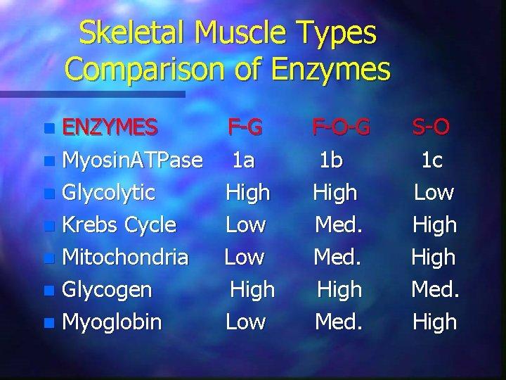 Skeletal Muscle Types Comparison of Enzymes ENZYMES n Myosin. ATPase n Glycolytic n Krebs