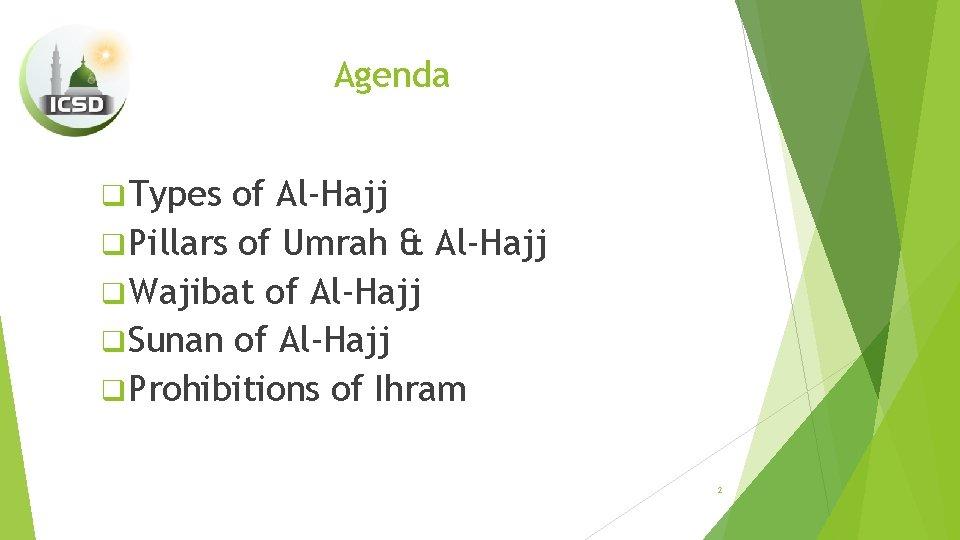 Agenda q Types of Al-Hajj q Pillars of Umrah & Al-Hajj q Wajibat of