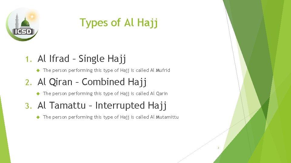 Types of Al Hajj 1. Al Ifrad – Single Hajj 2. Al Qiran –
