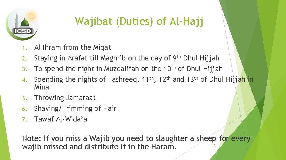 Wajibat (Duties) of Al-Hajj 1. 2. 3. 4. 5. 6. 7. Al Ihram from