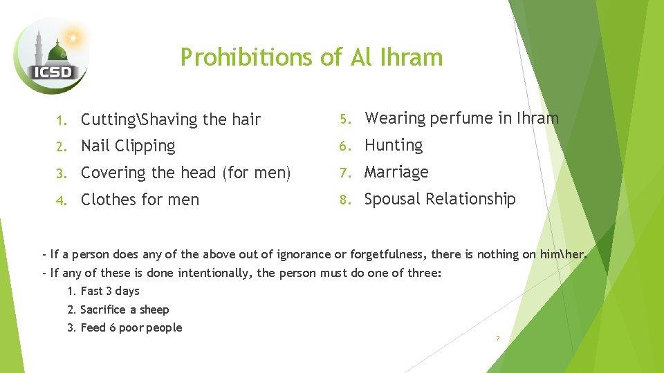 Prohibitions of Al Ihram 1. CuttingShaving the hair 5. Wearing perfume in Ihram 2.