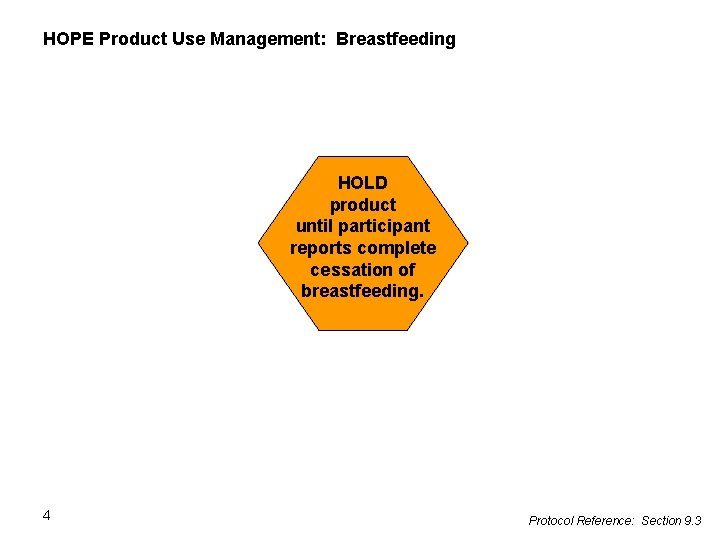 HOPE Product Use Management: Breastfeeding HOLD product until participant reports complete cessation of breastfeeding.