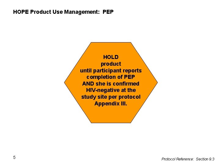 HOPE Product Use Management: PEP HOLD product until participant reports completion of PEP AND