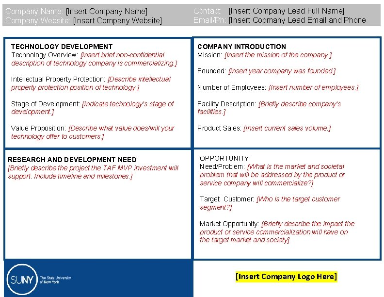 Company Name: [Insert Company Name] Company Website: [Insert Company Website] TECHNOLOGY DEVELOPMENT Technology Overview: