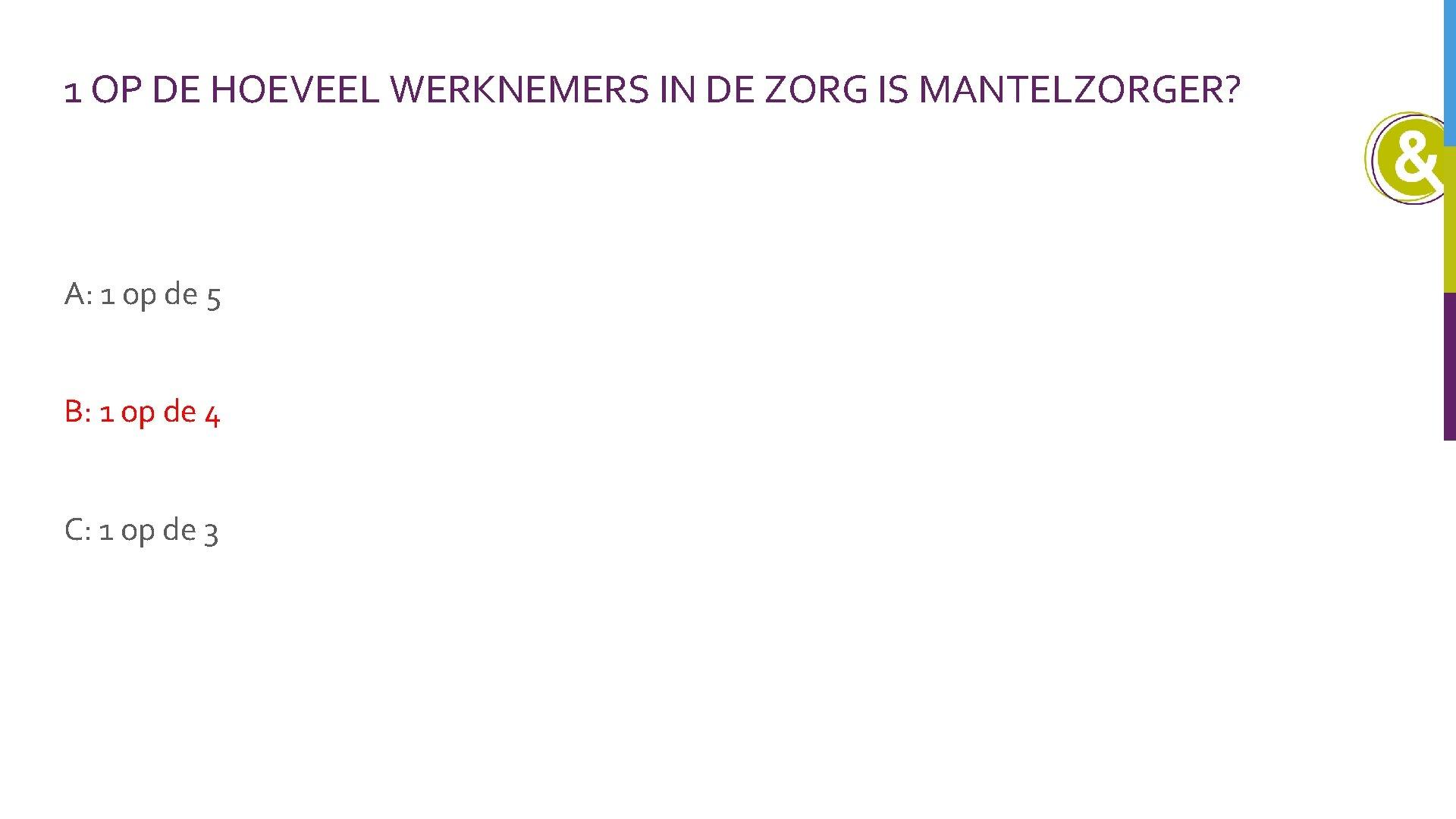 1 OP DE HOEVEEL WERKNEMERS IN DE ZORG IS MANTELZORGER? A: 1 op de