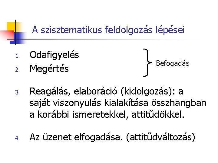A szisztematikus feldolgozás lépései 1. 2. 3. 4. Odafigyelés Megértés Befogadás Reagálás, elaboráció (kidolgozás):