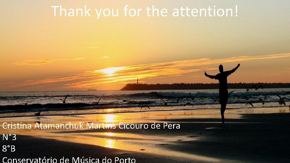 Thank you for the attention! Cristina Atamanchuk Martins Cicouro de Pera N° 3 8°B