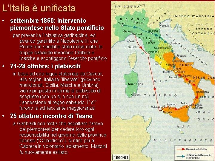 Cartina Politica Italia 1860.Il Il Processo Di Di Unificazione Italiana 1