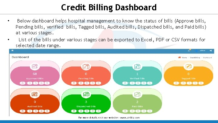 Credit Billing Dashboard • • Below dashboard helps hospital management to know the status