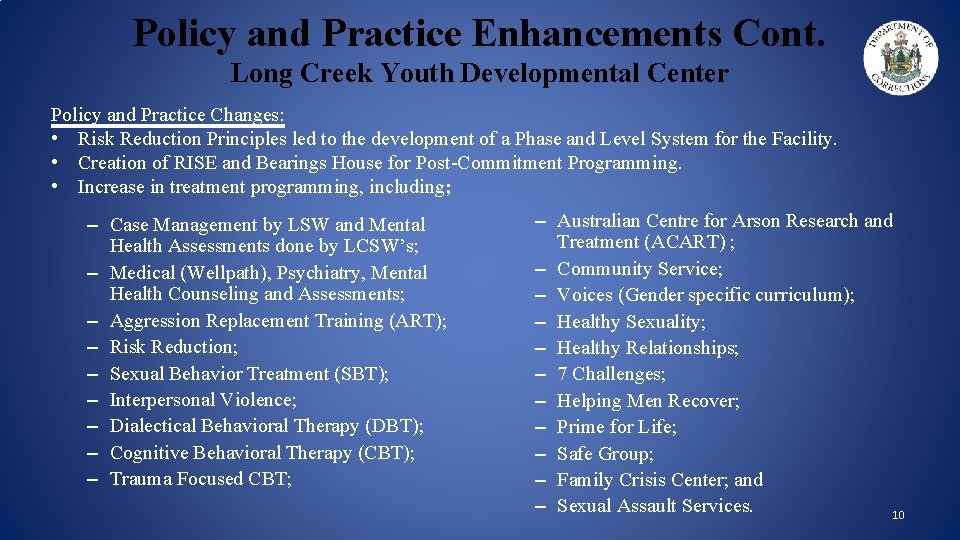 Policy and Practice Enhancements Cont. Long Creek Youth Developmental Center Policy and Practice Changes: