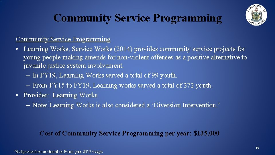 Community Service Programming • Learning Works, Service Works (2014) provides community service projects for