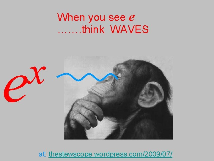 When you see e ……. think WAVES x e at: thestewscope. wordpress. com/2009/07/