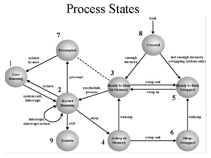 Process States 8 7 1 3 2 5 6 9 4