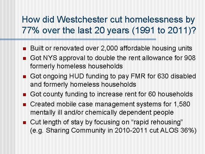 How did Westchester cut homelessness by 77% over the last 20 years (1991 to