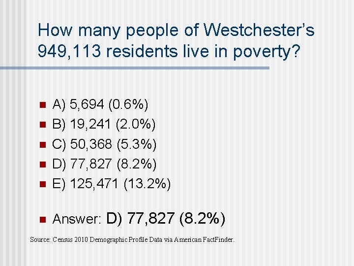 How many people of Westchester's 949, 113 residents live in poverty? n A) 5,