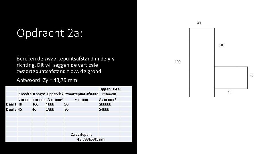 Opdracht 2 a: Bereken de zwaartepuntsafstand in de y-y richting. Dit wil zeggen de