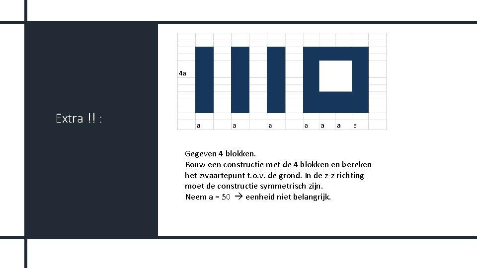 Extra !! : Gegeven 4 blokken. Bouw een constructie met de 4 blokken en