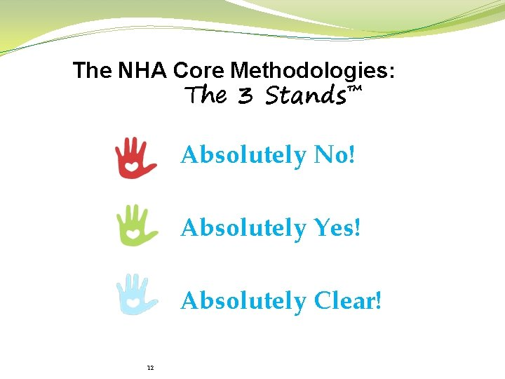 The NHA Core Methodologies: The 3 Stands™ Absolutely No! Absolutely Yes! Absolutely Clear! 12
