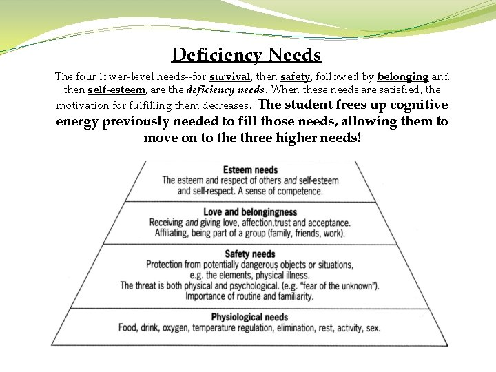 Deficiency Needs The four lower-level needs--for survival, then safety, followed by belonging and then