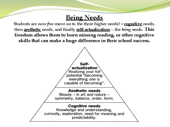 Being Needs Students are now free move on to the three higher needs! –