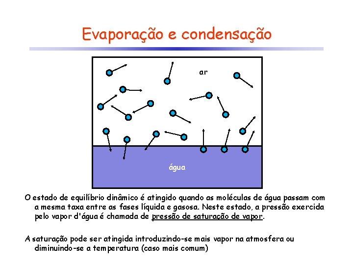 Evaporação e condensação ar água O estado de equilíbrio dinâmico é atingido quando as